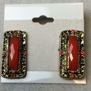 Jewelry - New Red and Gold Stud Earrings